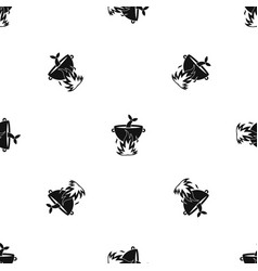 Fish soup on a fire pattern seamless black vector