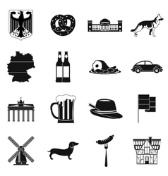 Germany black simple icons vector