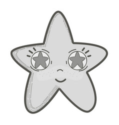 Grayscale kawaii happy star with stars inside eyes vector