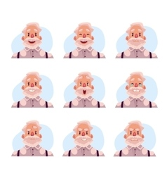 Grey haired old man face expression avatars vector
