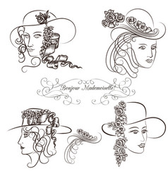 hand drawn sketched female portraits vector image vector image