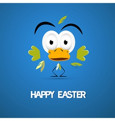 Happy Easter Blue Background with Abstract Chicken vector image vector image