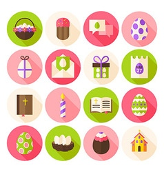 Happy Easter Spring Circle Icons Set with long vector image vector image