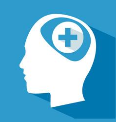 Human head brain care cross vector