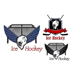 Ice hockey sports emblems and icons vector