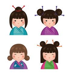 Japanese girl doll icon vector