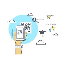 Man is scanning qr code via smartphone app vector