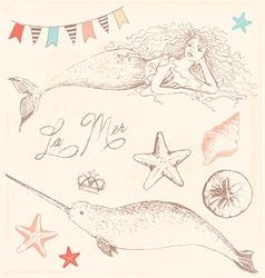 Mermaid narwhal and seashells drawing set vector