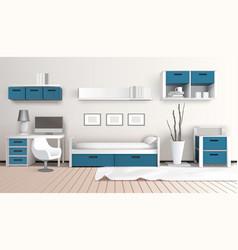 Modern interior 3d composition vector