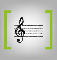 music violin clef sign g-clef black vector image