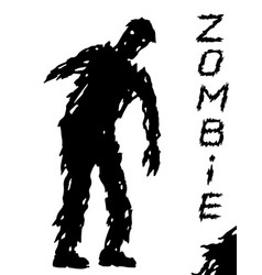 One-armed black zombie silhouette in leaky vector