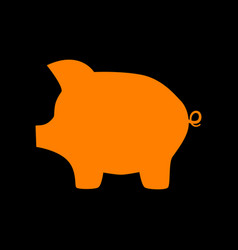 Pig money bank sign orange icon on black vector