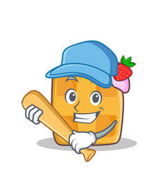 Playing baseball waffle character cartoon design vector