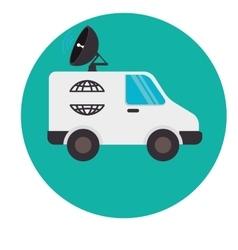 Satellitte van vehicle icon vector