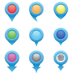 Set of blue circle pointers in the colors of the r vector image vector image