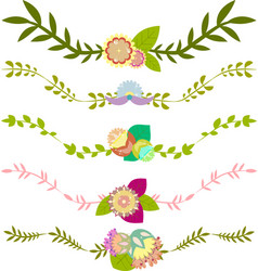 Set of floral borders decorative elements vector