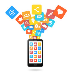 set of social media icons with smartphone vector image vector image