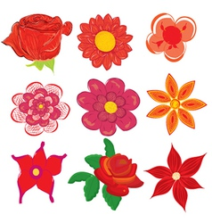 Set of various flower icons vector image vector image