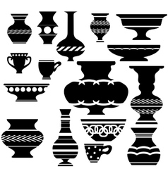 Set of Vases Silhouettes vector image