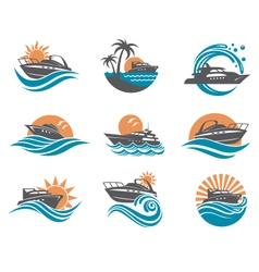 Speedboat and yacht icons vector