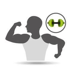 strong man silhouette and barbell vector image