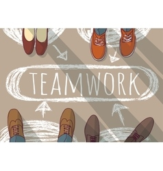 Teamwork group business people and doodles vector image vector image