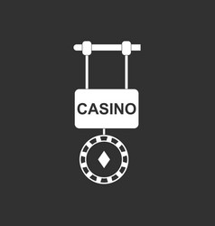 White icon on black background casino street vector