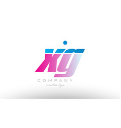 xg x g alphabet letter combination pink blue bold vector image vector image