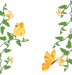 yellow butterflies and flowers 2 vector image