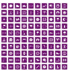 100 motorsport icons set grunge purple vector