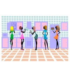 Five silhouettes of girls on a kitchen vector image