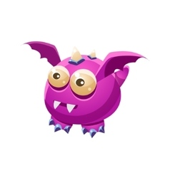 Violet fantastic friendly pet dragon with sharp vector