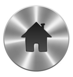 Home button icon metal round isolated on white vector