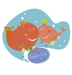 Funny fishes vector