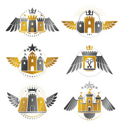 Ancient bastions emblems set heraldic design vector