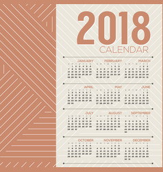 simple and clean 2018 printable calendar vector image