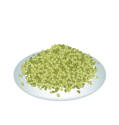 A lot of mung beans on white plate vector