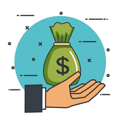 Make a donation sign hand with bag money vector