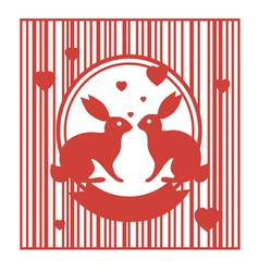 Valentive stamp design with rabbits vector