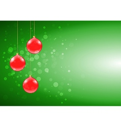 Green christmas card with shiny red baubles vector