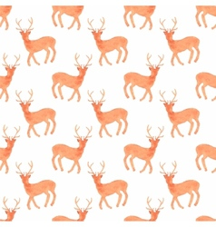 Watercolor seamless pattern with deers on the vector