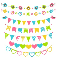 Set of multicolored flat buntings garlands flags vector