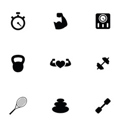 Fitness 9 icons set vector