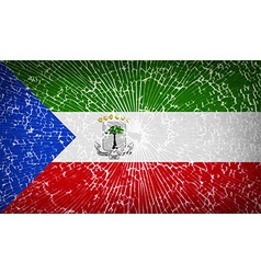 Flags equatorial guinea with broken glass texture vector