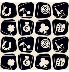 Seamless background with symbols of gambling vector