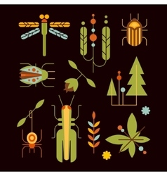 Nature insects leaves and tree icons vector