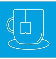 Cup of tea thin line icon vector