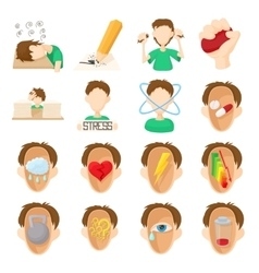 Stress icons set cartoon style vector