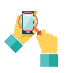 Search hands mobile phone magnifying glass vector