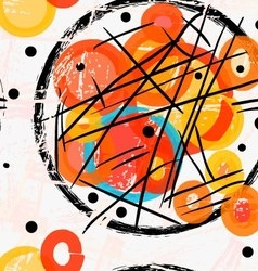 Abstract black grunge circles with red and yellow vector image